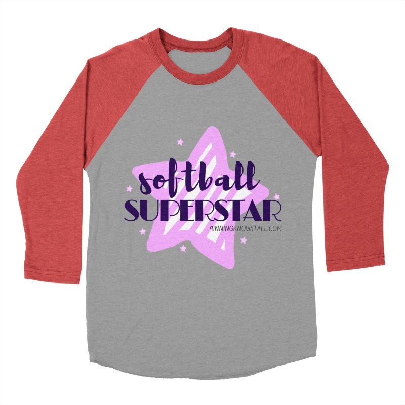 Softball Superstar Women's Baseball Triblend Longsleeve T-Shirt by 9 Inning Know It All Apparel and Merchandise