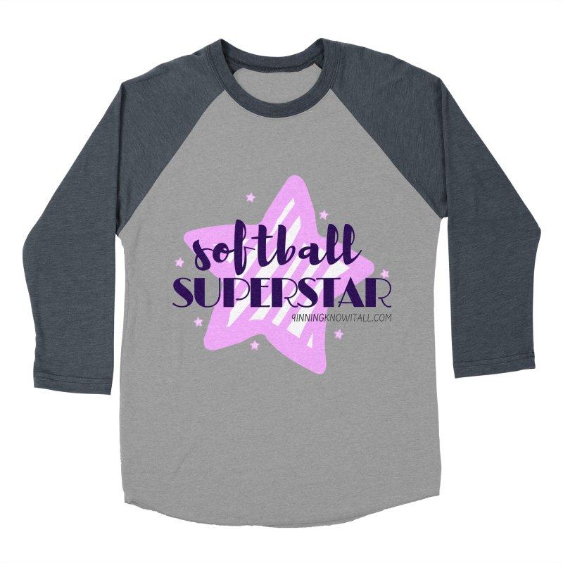 Softball Superstar Women's Baseball Triblend Longsleeve T-Shirt by 9 Inning Know It All Apparel and Merchandise