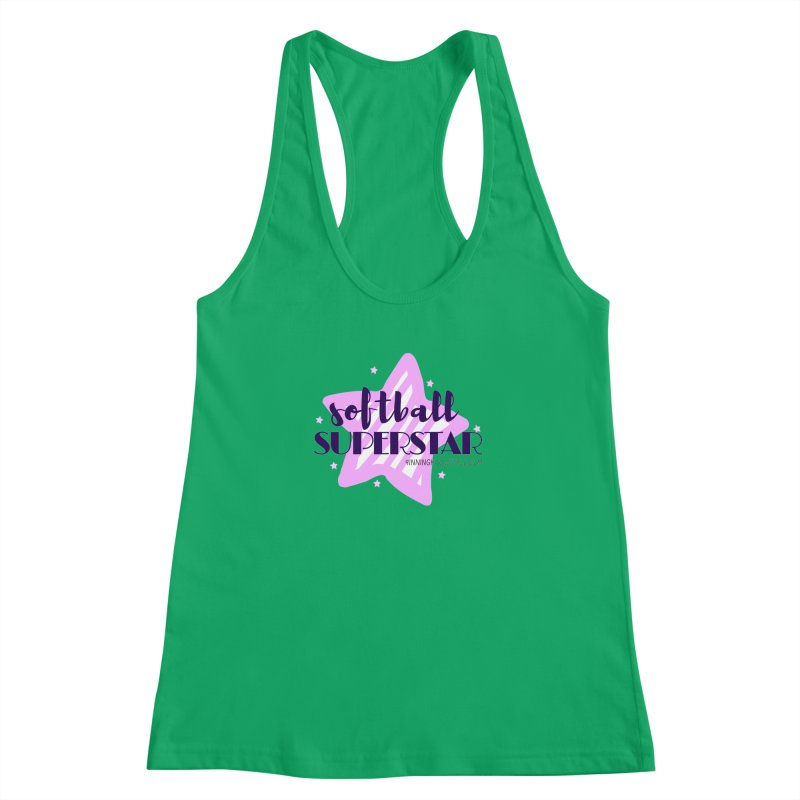Softball Superstar Women's Racerback Tank by 9 Inning Know It All Apparel and Merchandise