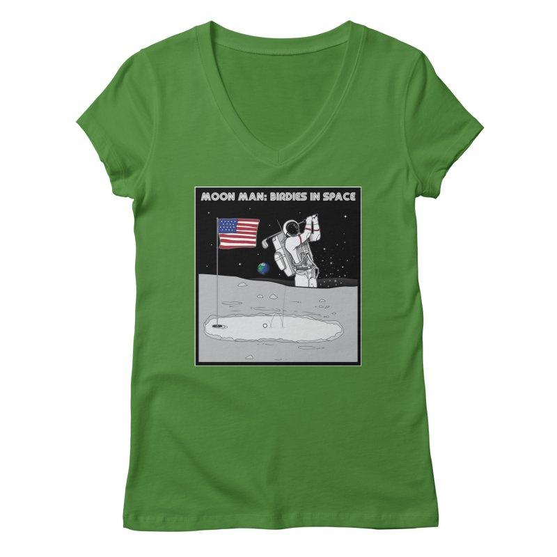 MOON MAN: Birdies in Space Women's Regular V-Neck by 9th Mountain Threads