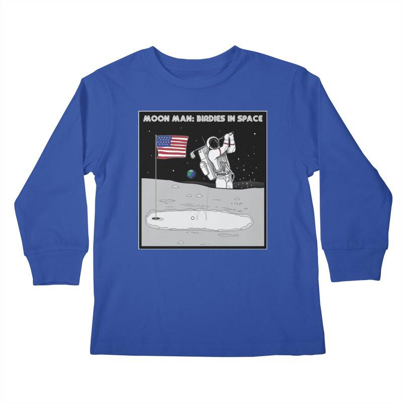 MOON MAN: Birdies in Space Kids Longsleeve T-Shirt by 9th Mountain Threads
