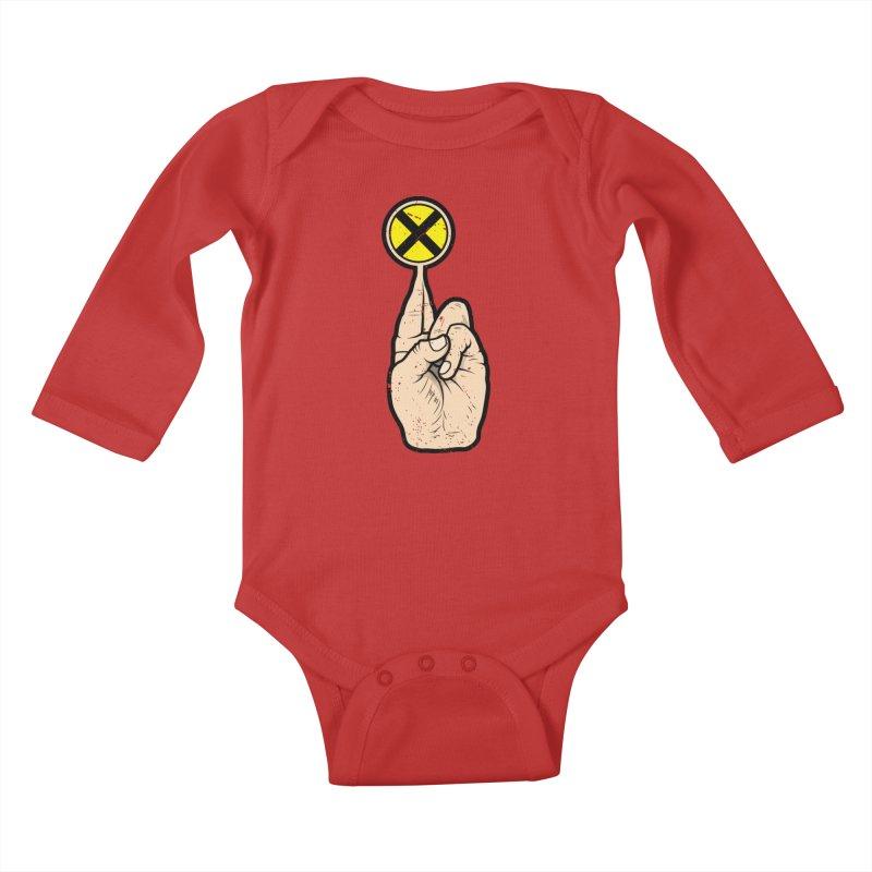 Fingers Crossed Kids Baby Longsleeve Bodysuit by 9th Mountain Threads