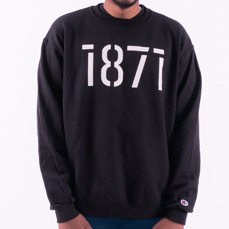 The Stencil - White in Men's French Terry Sweatshirt Black by 1871's Shop