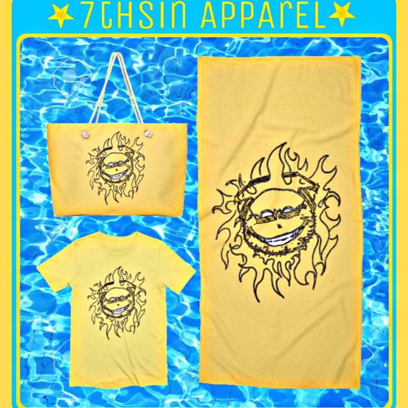 Sun Beats in Men's Extra Soft T-Shirt Light Yellow by 7thSin Apparel