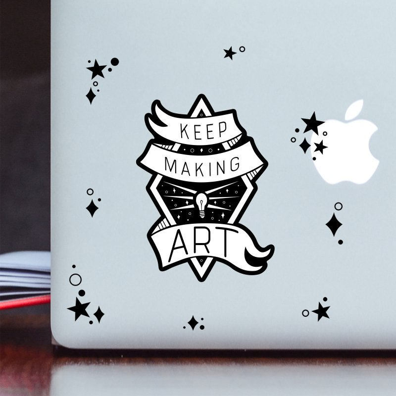 Keep Making Art in Clear Sticker by Crowglass Design