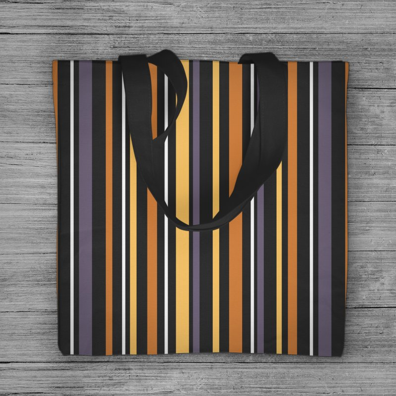 Halloween Stripes in Tote Bag by Crowglass Design