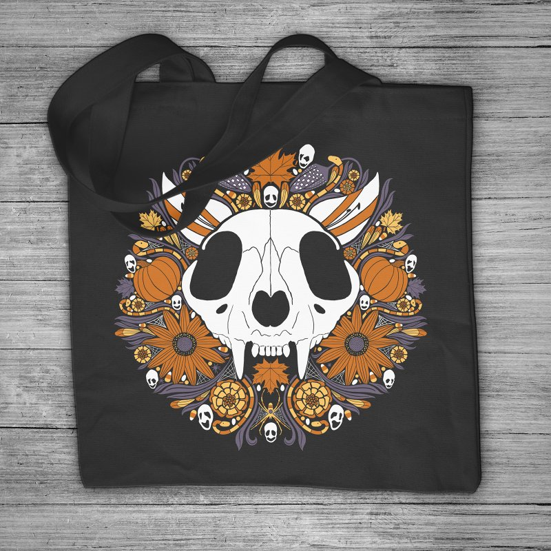 Halloween Cat in Tote Bag by Crowglass Design