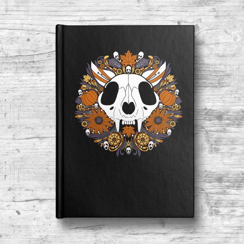 Halloween Cat in Blank Journal Notebook by Crowglass Design