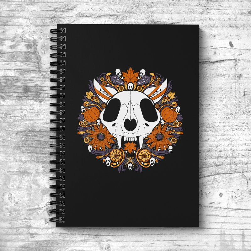 Halloween Cat in Lined Spiral Notebook by Crowglass Design