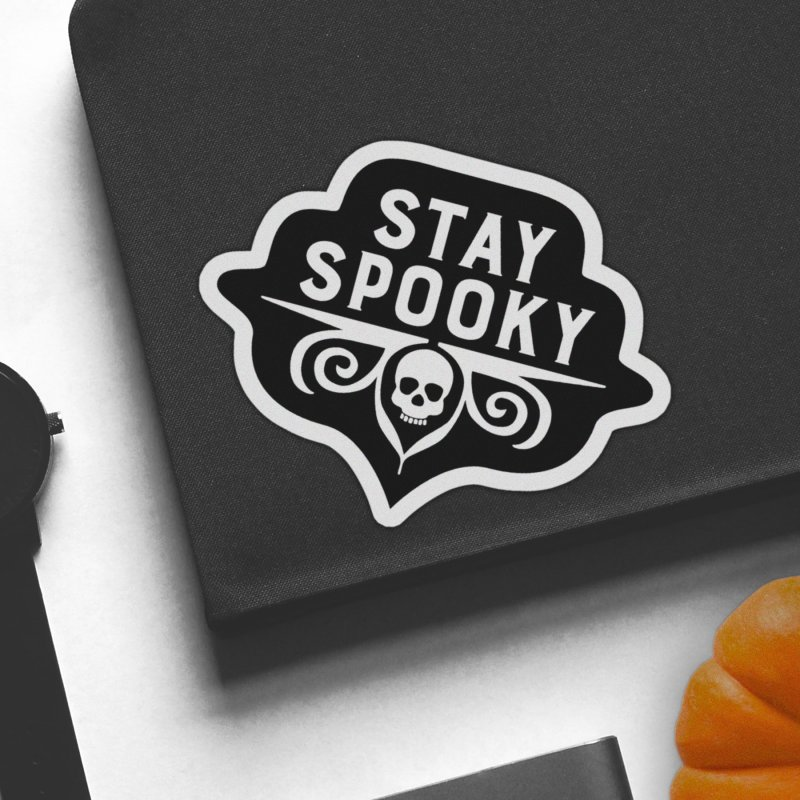 Stay Spooky in White Sticker by Crowglass Design