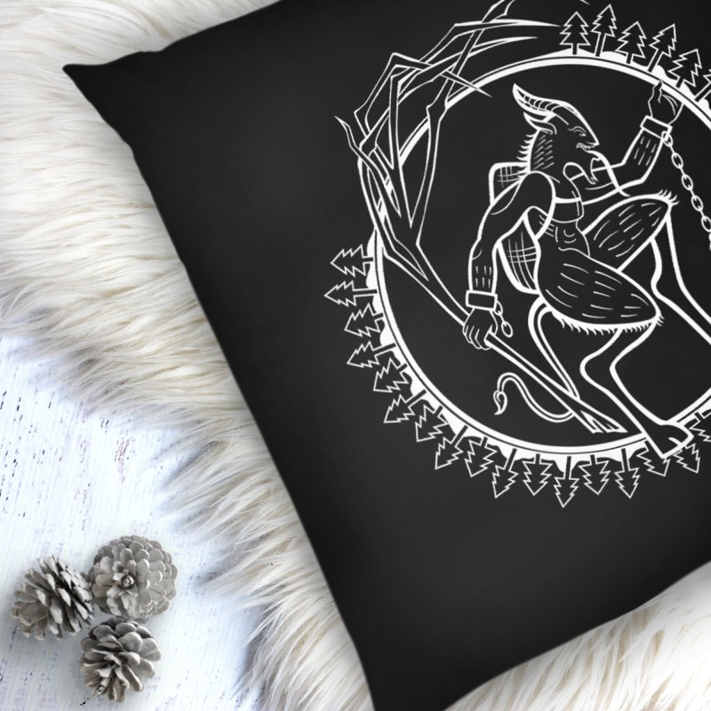 Krampus Pursuant in Throw Pillow by Crowglass Design