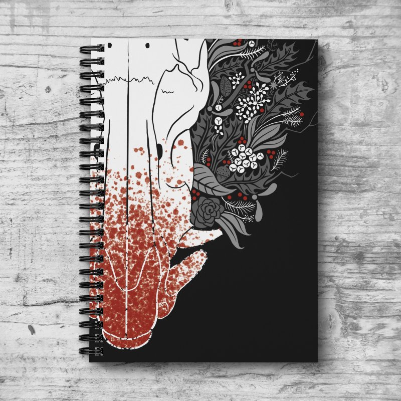 Winter Boar in Lined Spiral Notebook by Crowglass Design