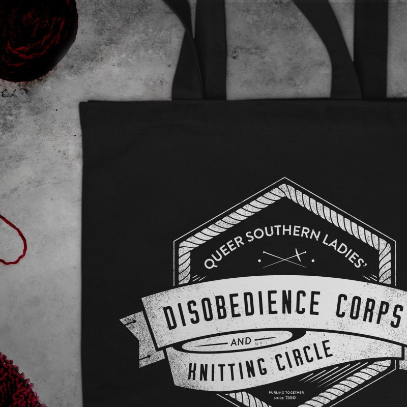 Disobedience and Knitting in Tote Bag by Crowglass Design