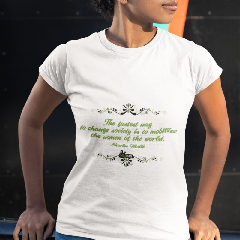 Mobilize Women in Women's Fitted T-Shirt White by FemThotz's Artist Shop