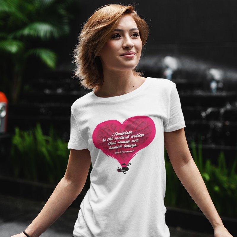 Feminist Human in Women's Regular Unisex T-Shirt White by FemThotz's Artist Shop
