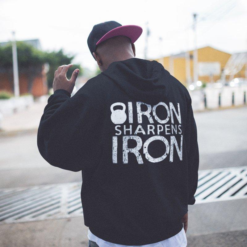 Iron sharpens Iron in Men's Zip-Up Hoody Black by Kingdomatheart's Artist Shop