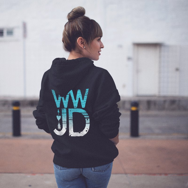 WWJD in Women's Zip-Up Hoody Black by Kingdomatheart's Artist Shop