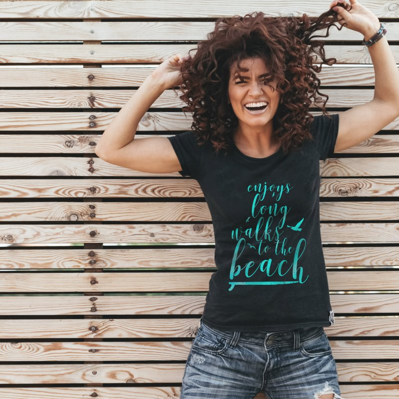 Enjoy in Women's Fitted T-Shirt Black by Kingdomatheart's Artist Shop