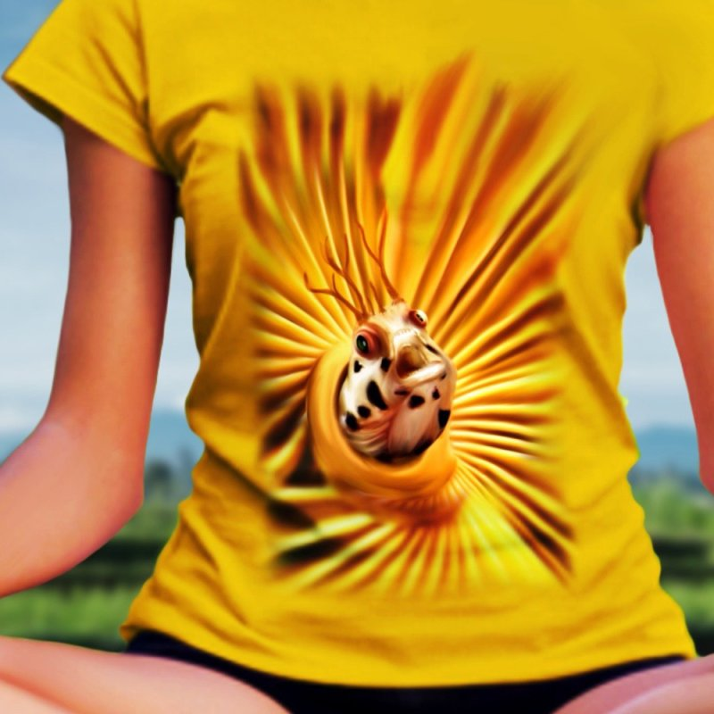 Center of the world in Women's Classic Unisex T-Shirt Gold by LIQUID MOTION® Designer Marine Art-Wear & Home
