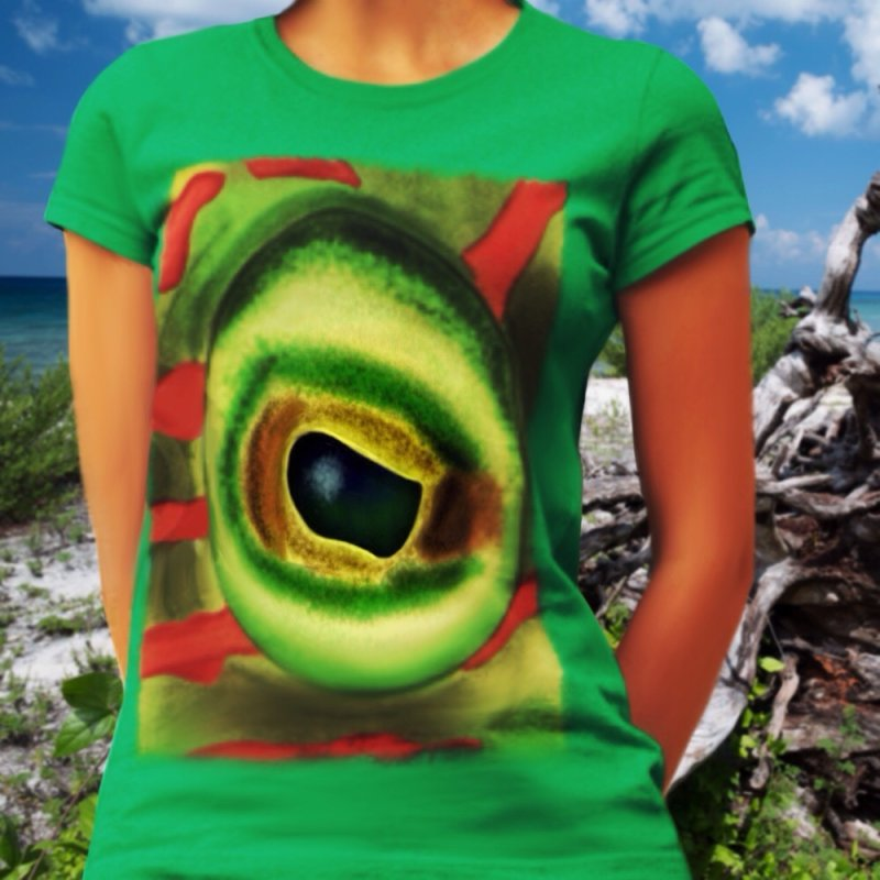 Cheek line in Women's Fitted T-Shirt Kelly by LIQUID MOTION® Designer Marine Art-Wear & Home