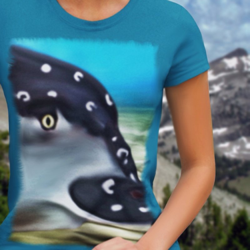 Eagle in Women's Fitted T-Shirt Turquoise by LIQUID MOTION® Designer Marine Art-Wear & Home