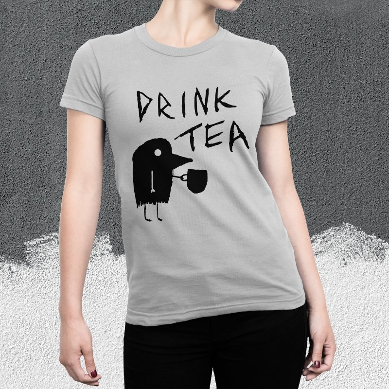Drink Tea in Men's Regular Longsleeve T-Shirt Heather Grey by The Little Fears
