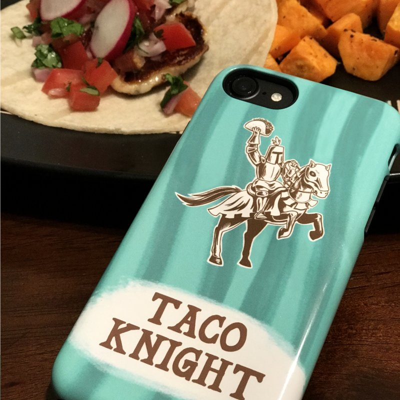 Taco Knight with Text in iPhone 7 Phone Case Slim by Lupi Art + Illustration