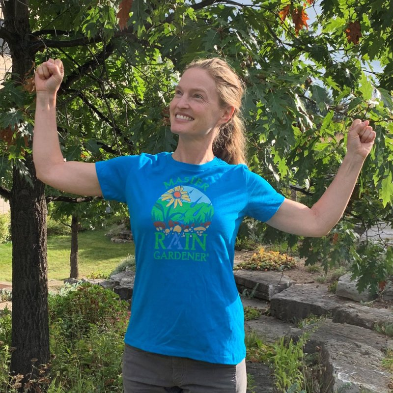 Master Rain Gardener - Turquoise in Women's Fitted T-Shirt Turquoise by MasterRainGardener's Artist Shop