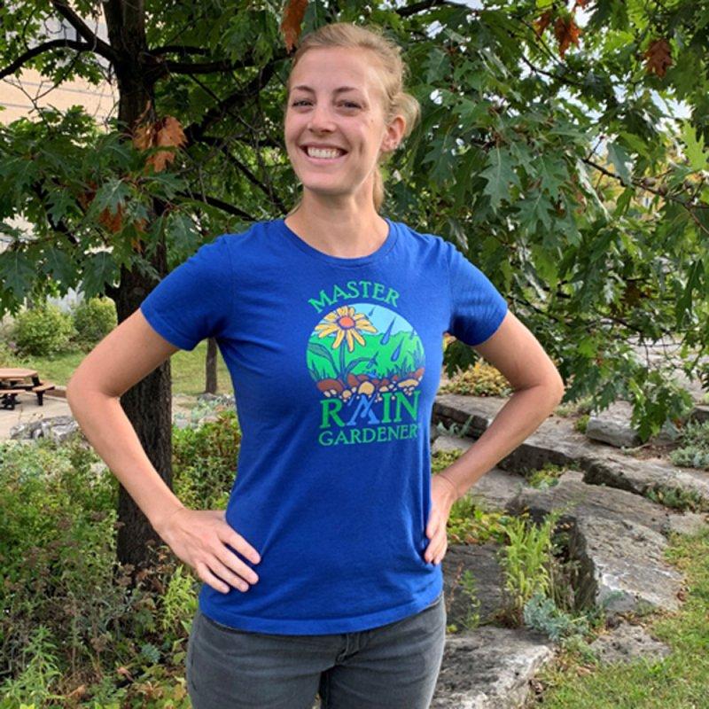 Master Rain Gardener in Women's Fitted T-Shirt Royal Blue by MasterRainGardener's Artist Shop