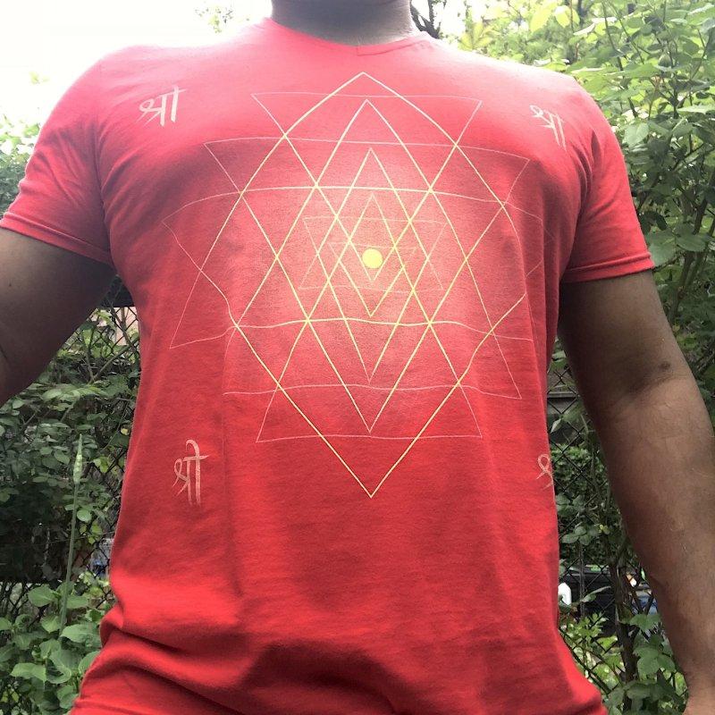 Sri Yantra in Men's Regular V-Neck Red by Moon Jewel