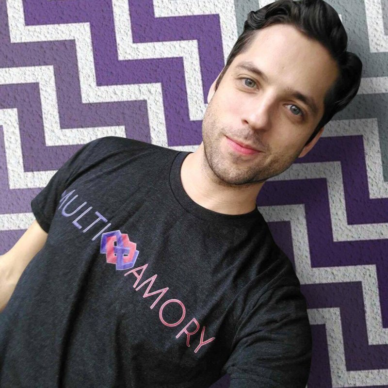 Multiamory Name (Red and Purple) in Men's Triblend T-Shirt Heather Onyx by Multiamory's Shop