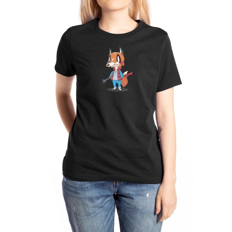McFox Women's T-Shirt Black in Women's Extra Soft T-Shirt Black by Nathan Hamill