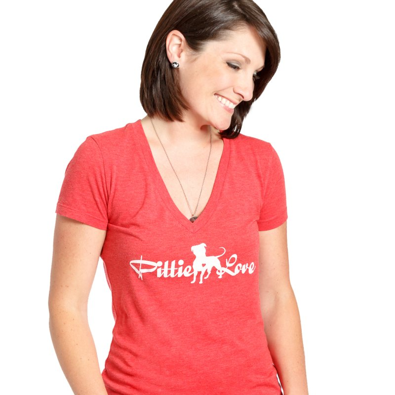 Pittie Love White in Women's Regular V-Neck Red by Pittie Chicks