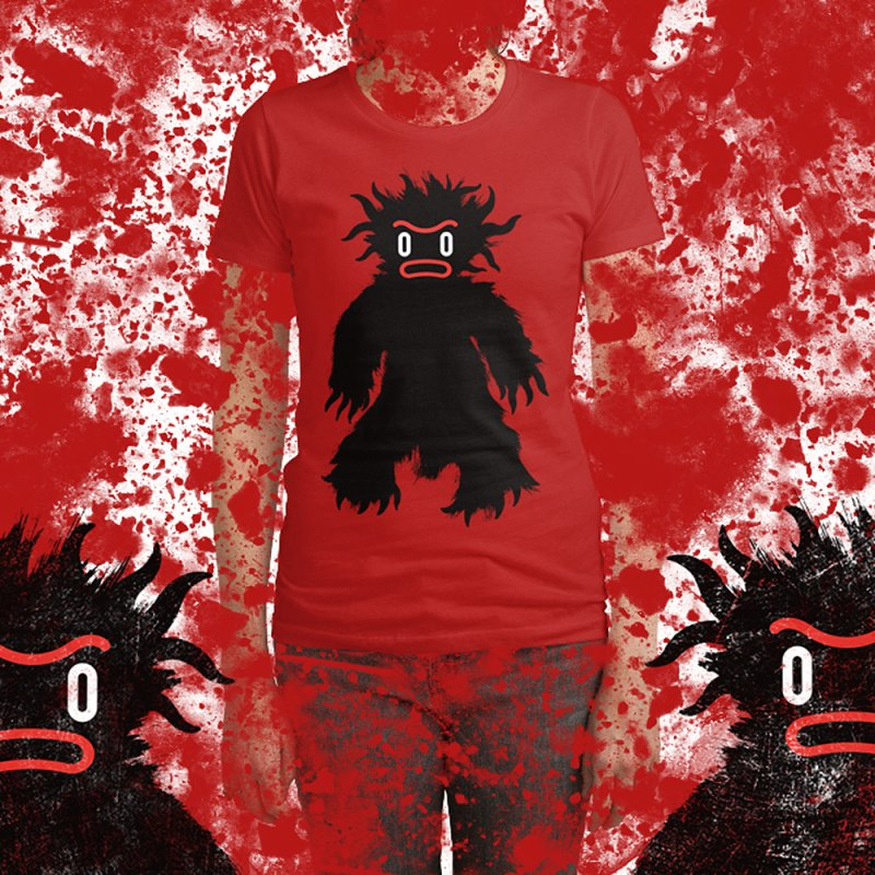 Monster of the day (February 15) [Year 1] in Women's Fitted T-Shirt Red by Daily Monster Shop by Royal Glamsters