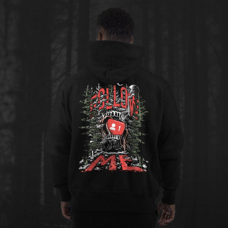 Follow me in Men's Sponge Fleece Zip-Up Hoody Black by Saṃsāra LSD