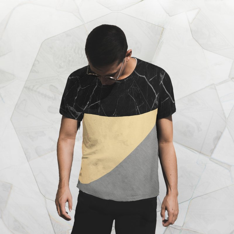 Black Marble in Men's French Terry T-Shirt Cut & Sew by Saṃsāra LSD