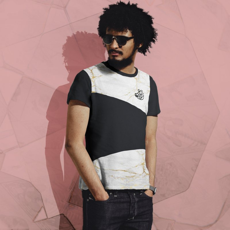 Golden Marble in Men's French Terry T-Shirt Cut & Sew by Saṃsāra LSD