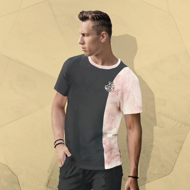 Pink Marble in Men's French Terry T-Shirt Cut & Sew by Saṃsāra LSD