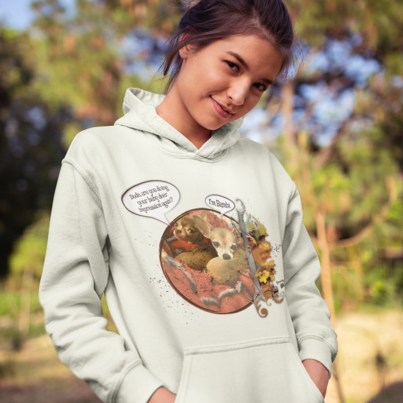 Bambi in Women's French Terry Pullover Hoody Heather Oatmeal by Smarty Petz's Artist Shop