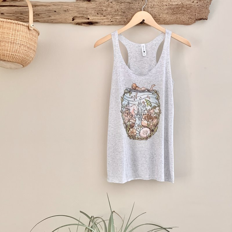 The Peace of Wild Things in Women's Racerback Triblend Tank Heather White by Chapman at Sea // surf art by Tash Chapman