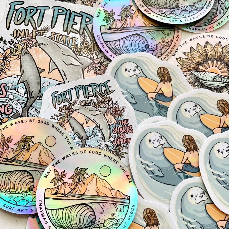Spinner City in White Sticker by Chapman at Sea // surf art by Tash Chapman