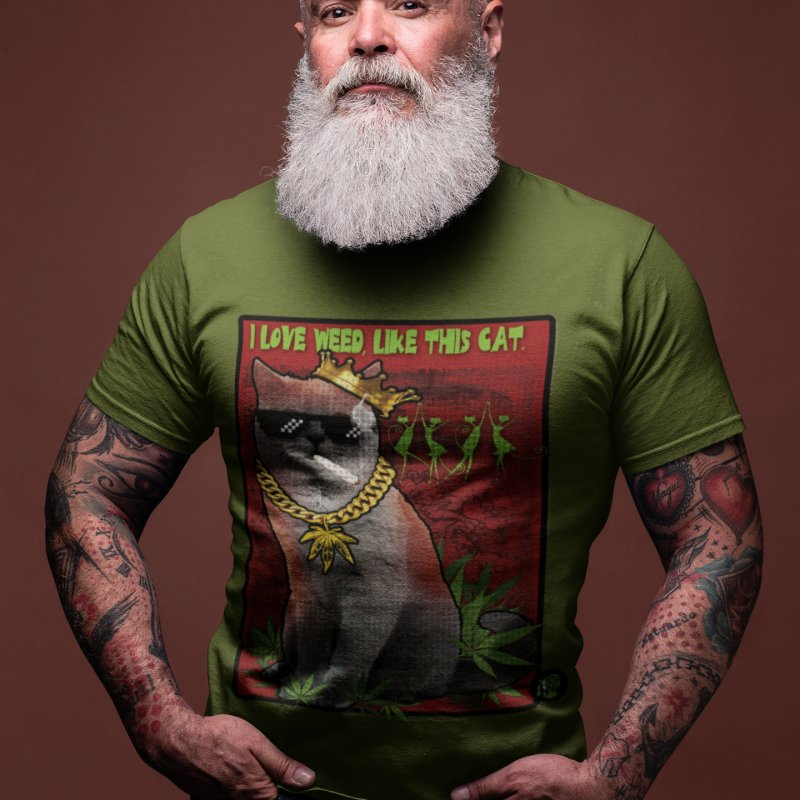 I love weed like this cat in Men's Premium T-Shirt Olive by The SeshHeadz's Artist Shop