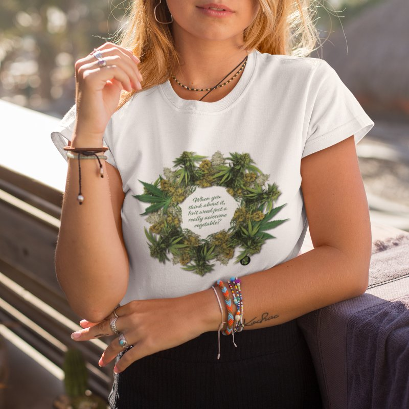 Awesome Vegetable in Women's Fitted T-Shirt White by The SeshHeadz's Artist Shop