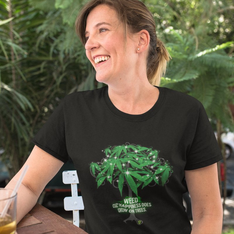Cuz Happiness does grow on trees. in Women's Fitted T-Shirt Black by The SeshHeadz's Artist Shop