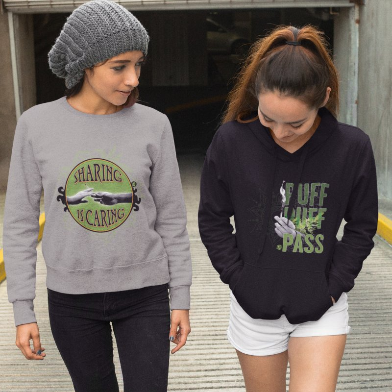 Sharing is Caring in Women's French Terry Sweatshirt Heather Graphite by The SeshHeadz's Artist Shop
