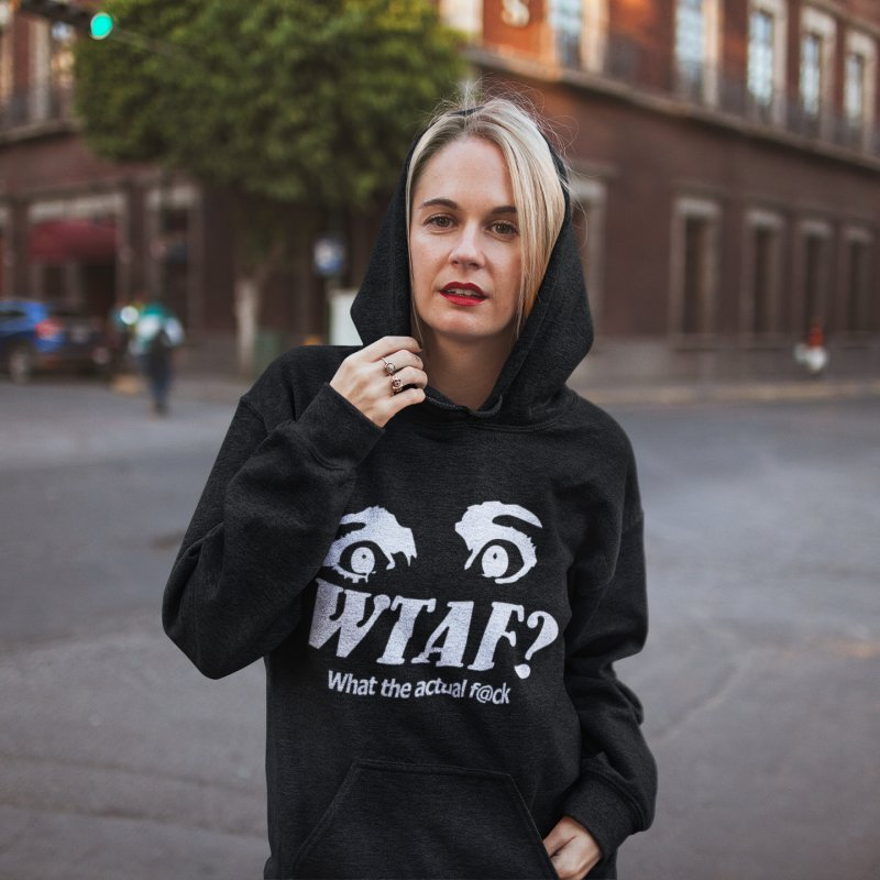 WTAF- Reverse in Women's French Terry Pullover Hoody Black by WTAFGear's Artist Shop
