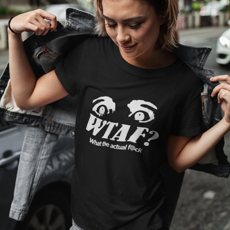 WTAF- Reverse in Women's Regular Unisex T-Shirt Black by WTAFGear's Artist Shop