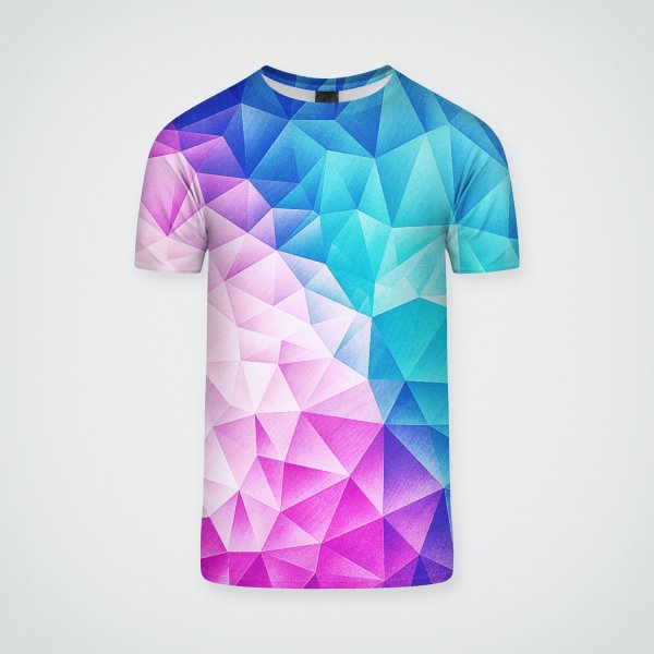 Design for Color Bomb Fruity Fresh    Pink - Ice Blue / Abstract Polygon Crystal Cubism Low Poly Triangle Art