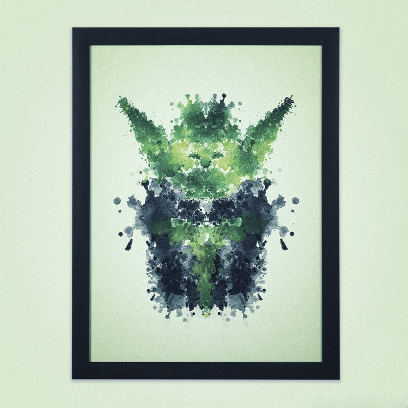 Rorschach Yoda in Framed Fine Art Print Black by Badbugs's Artist Shop