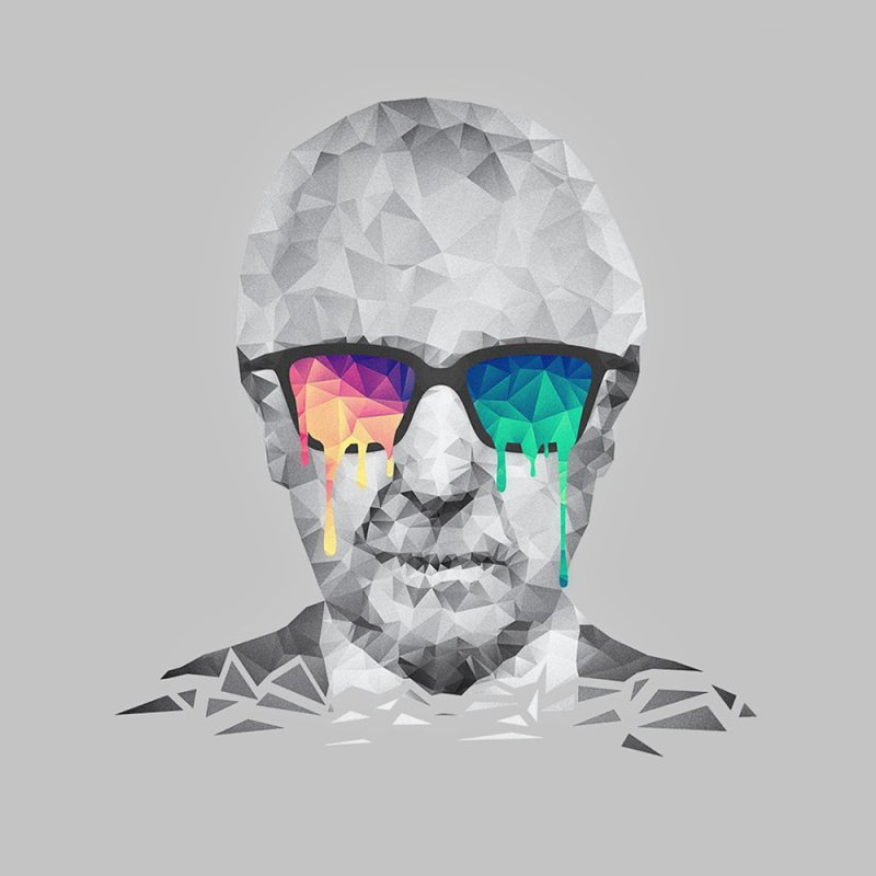 Albert Hofmann - Psychedelic Polygon Crystalised Portrait by Badbugs's Artist Shop